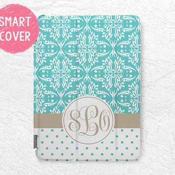 Tiffany blue Damask lace Monogram polka dots Personalized Smart Cover, custom case for iPad Mini, iPad mini 2 retina, iPad Air, iPad Air 2