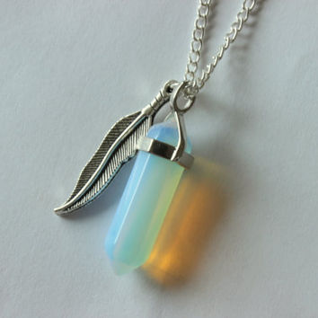 Opal and Feather Charm Necklace, Geometric Cut Opal, Semi Precious Stone Necklace, Opal and Feather Necklace, Semi Precious Stone Necklace