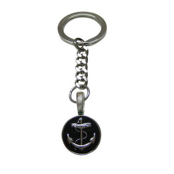 Nautical Black Anchor Pendant Key Chain