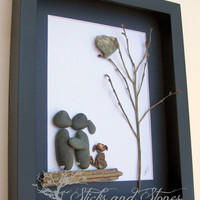 Pebble Art Couple with Dog - Engagement Gift -Unique Couple's Gift- Dog Lover - Personalized COUPLE'S Gift-COUPLE -SticksnStone Designs-Love