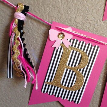 Parisian pink black and white striped gold glitter happy birthday banner bow tassel
