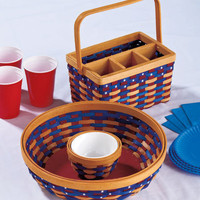 "Americana Chip N Dip Picnic Serving Basket W/Dip Bowl ""OR"" Silverware Caddy"