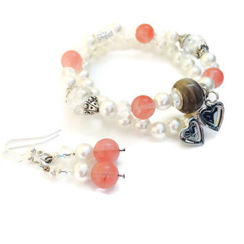 Peach glass bead and pearl bead double charm bracelet with matching dangle earrings, heart charm, gifts for her