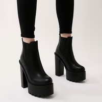 Soar Platform Ankle Boots in Black