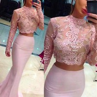 [98.99] Exquisite Tulle & Chiffon High Collar Neckline Mermaid Two-piece Evening Dresses With Lace Appliques - dressilyme.com