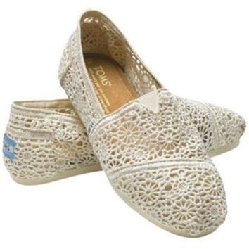 Kalete TOMS Natural Crochet Classics Flats Fashion hollow Summer Sexy Loose Shoes white