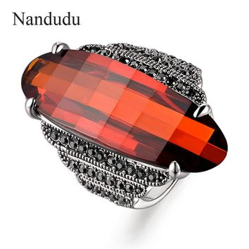 Nandudu 3.5cm Big Red Austrian Crystal Ring with Marcasite Little Gray Crystal Fashion Women Ring Accessories Gift R528