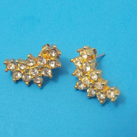 Earrings Clear Rhinestones and gold tone, Vintage earrings,, costume jewelry, Pierced ear