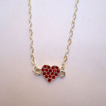 Minimalist tiny sterling and swarovski crystal heart link necklace on sterling chain.