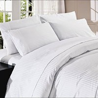 """Scala Egyptian Cotton 500-Thread-Count Super Soft Extra Deep Pocket Sheet Set Queen Stripe White Fit Up to 10"""" inches Deep Pocket"""