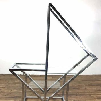 Mid-Century Modern Style Glass and Chrome Shelving Unit
