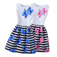 5-12 Yrs Girl Dress 2017 Summer fashion Sleeveless Butterfly Print Girl Princess Dresses Party Girl Clothes