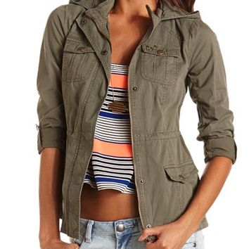 Star Studded Anorak Jacket: Charlotte Russe
