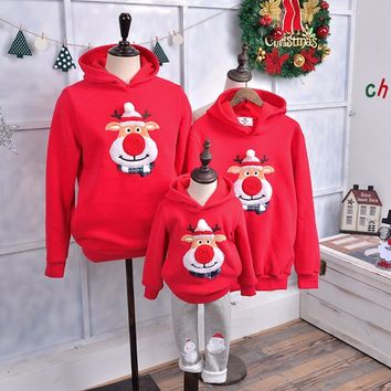 Christmas Hoodies Hooded Coat Red Nose for Women Men Girl Boy Family Matching Outfit Kids Tops Autumn Winter Clothes