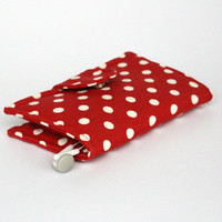 Red&White Point Fabric Samsung S5-S4-S3 Samsung Galaxy Note2-Note3 IPhone 6 IPhone 5 IPhone 4 Cell Phone Case Wallet