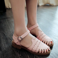 Fashion Cutout Flats Sandals Women Shoes 3848