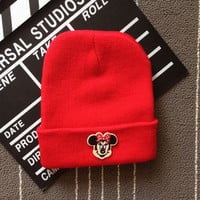 Minnie Mouse Embroidered Patch Womens & Mens Beanie Wool Knitted High Quality Red Cuffed Skully Hat