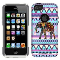Otterbox Commuter Colorful Elephant on Mauve Aztec Case for iPhone 5
