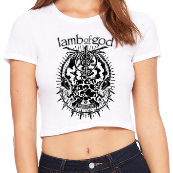 Lamb Of God Resolution Black And White Crop T-shirt