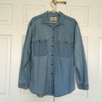 Levi's Red Tab Authentic Denim Shirt 1990's Jeans wear size Large