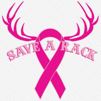 Save a Rack Deer Horn Pink Ribbon Breast Cancer Printable Digital Iron On Transfer Clip Art DIY Tshirts Instant Download