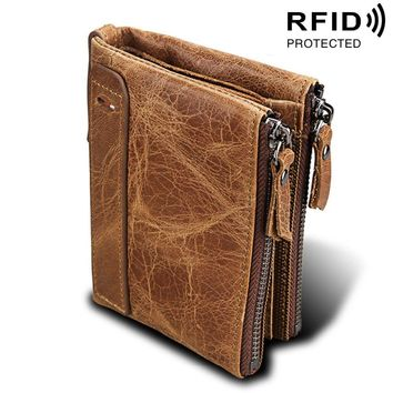Genuine Cow Leather Men Wallets RFID Double Zipper Card Holder High Quality Male Wallets Purse Vintage Coin Holder Men Wallets