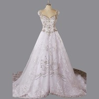 V Neck Cap Sleeve Cathedral/Royal Train Wedding Dress