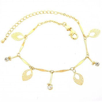 Gold Layered 03.63.1275.07 Charm Bracelet, Leaf Design, with White Cubic Zirconia, Diamond Cutting Finish, Gold Tone