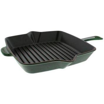"""Staub Cast Iron 12"""" Square Cooking Grill Pan - Basil NEW"""