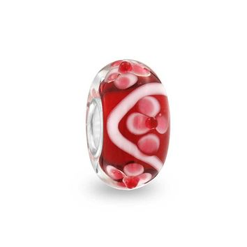 3D Red Pink White Flower Murano Glass Lampwork Bead Charm