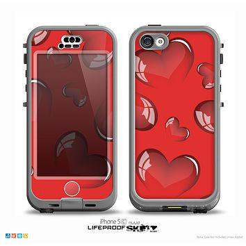 The Glossy Red 3D Love Hearts On Red Skin for the iPhone 5c nüüd LifeProof Case