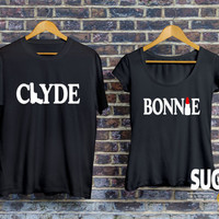 Bonnie Clyde t-shirt, bonnie clyde jerseys, matching couple shirts, set of matching shirts for couples, couples jerseys, couples shirts