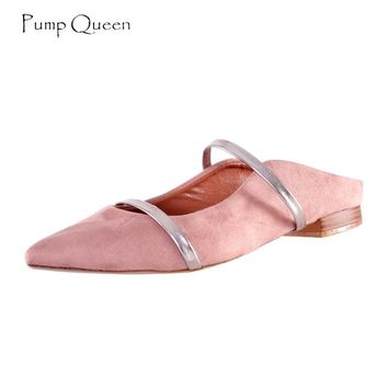 PumpQueen Mules Shoes Women Pointed Toe Square Low Heels Basic Flats Slippers for Woman Fashion Sequined Zapatillas Mujer Size40