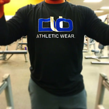 DUO black long sleeve. Blue and chrome lettering