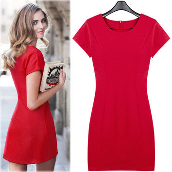 Red Short Sleeves Princess Sheath Dress