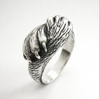 Paw to Paw - Silver Cat Ring - Cat Lover Wedding or Engagement Ring - Handmade - Sterling Silver - Rickson Jewellery
