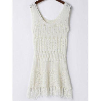 Trendy Hollow Out Solid Color Crochet Women's Cover Up