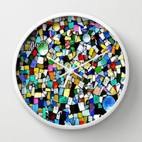 Wall Clock, 10 Inch Round, 3 Frame Colors Stained Glass, Mosaic, Mixed Media - kitchen, newlyweds, new home, gift - Made To Order - TMW1#73