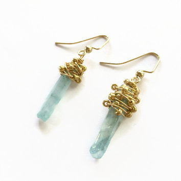 Aqua Quartz Crystal Earrings Aqua Raw Crystal Points Earrings Aqua Quartz Points Dangle Earrings Gold Wire Wrapped Crystal Earrings (E256)