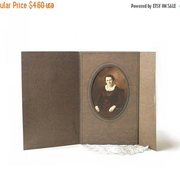 ON SALE - Vintage Photo Lady Portrait, Sepia Tone in Brown Tri Fold Card Frame, Batavia NY