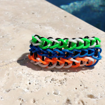 Tripple Rainbow Loom Bracelet Neon Orange Neon Green Blue White Optional ADD ON Charm Football Soccer Baseball Basketball Cheer Tennis  Yoga