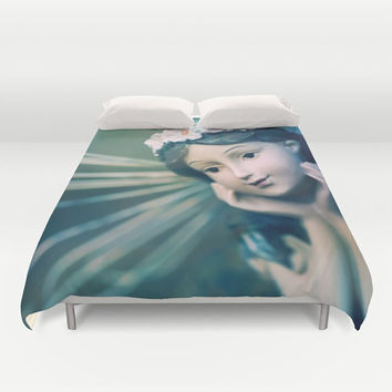 "Green Fairy Duvet Cover - Fantasy Bedroom Decor, Home Decor, twin, full, queen, king, unique fine art couture ""Day Dreamer"""