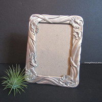 Vintage Picture Frame, Silver / Pewter, Floral Theme by Seagull Pewter, 5x4