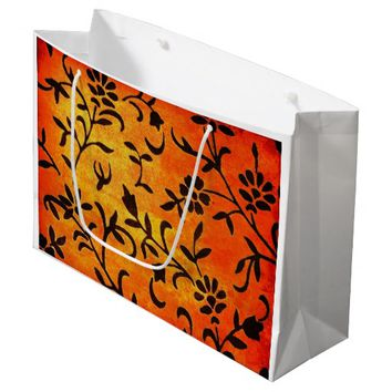 FLORAL FALL COLORS DESIGN LARGE GLOSSY GIFT BAG