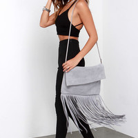 If You Frill Grey Suede Leather Fringe Purse