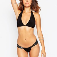 Goddiva Triangle Bikini Set With Metallic Trim