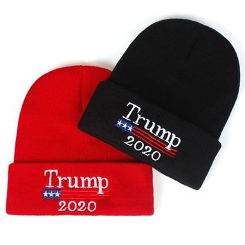 2020 Donald Trump Red  Beanies Skullies Hat Re-Election Keep America Great Embroidery USA Flag MAGA New Cap Cotton winter hat