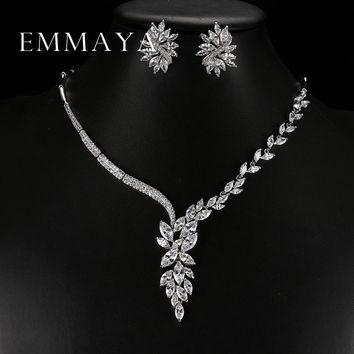 Emmaya New Unique Design Choker Necklace Stud Earrings Bridal Jewelry Sets Wedding Accessories Dropship