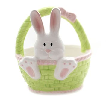 Tabletop BUNNY BASKET CANDY DISH Ceramic Easter Rabbit 9732628 Face