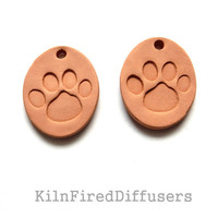 Dog / Cat Paw Print Aromatherapy Essential Oil Diffuser Pendant, Ceramic Terracotta Earthy Eco-Friendly Jewelry